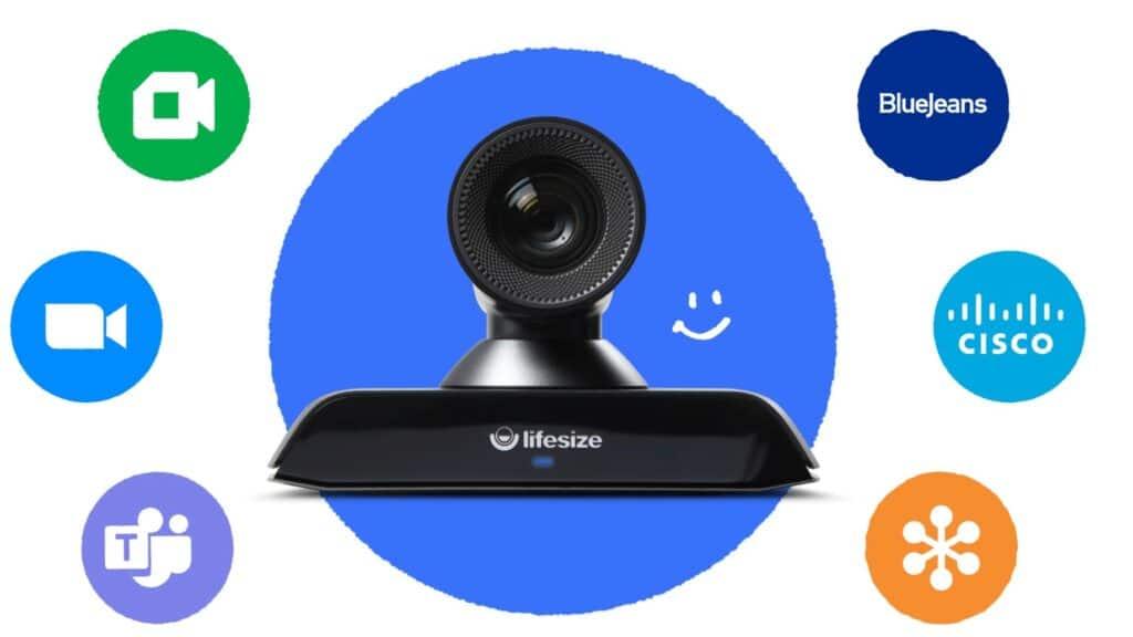 Lifesize Raumsystem ist kompatibel mit anderen Videokonferenz-Lösungen und Drittanbietern wie z.B. Zoom