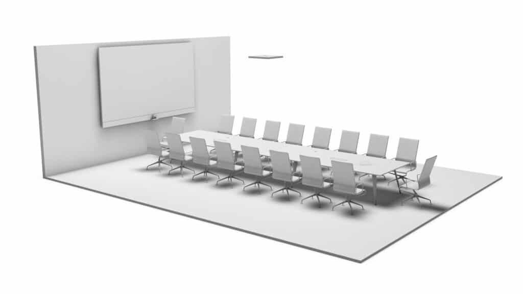 Rendering Board Room Premium ausgestattet mit Medientechnik (z.B. Videowall, Kamera und Mediensteuerung) und Medienmöbeln wie Beleuchtung, Deckenmikrofon, Konferenztisch und Konferenzstühle