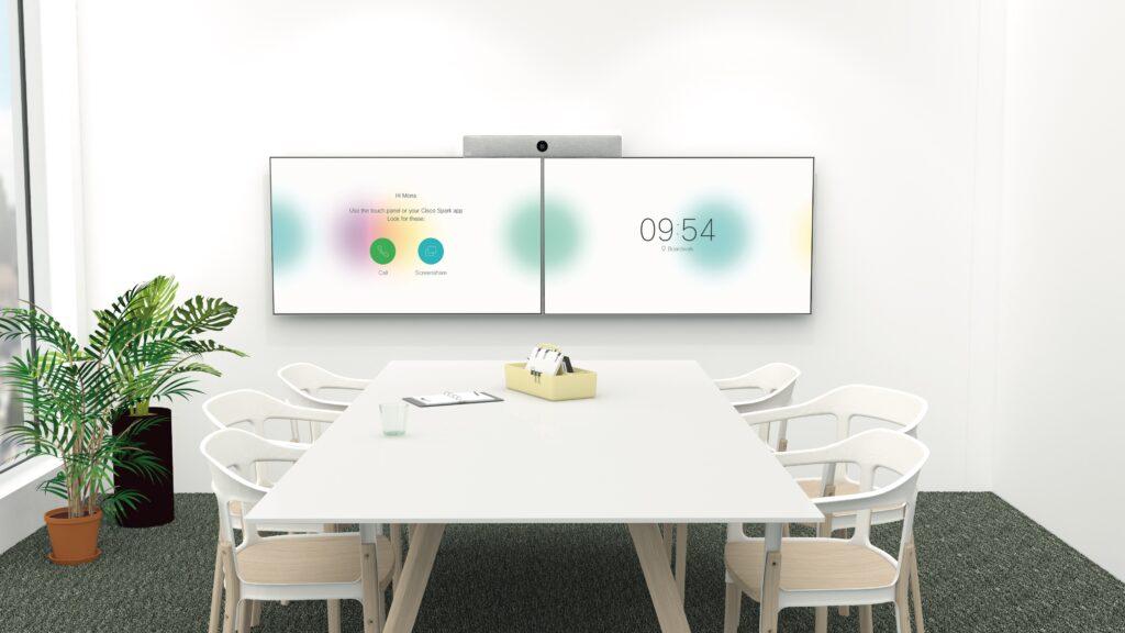 Cisco Webex Meetings hier Videokonferenzsystem mit Room Kit, d.h. Mediensteuerung, Kamera, Mikrofon und zwei Displays