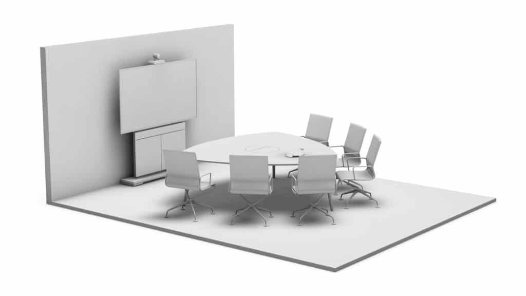 Rendering Konferenzraum Basic mit Medientechnik (Kamera, Display, Mediensteuerung inkl. Mikrofon) und Medienmöbeln wie Displaystele, Tisch und Stühlen