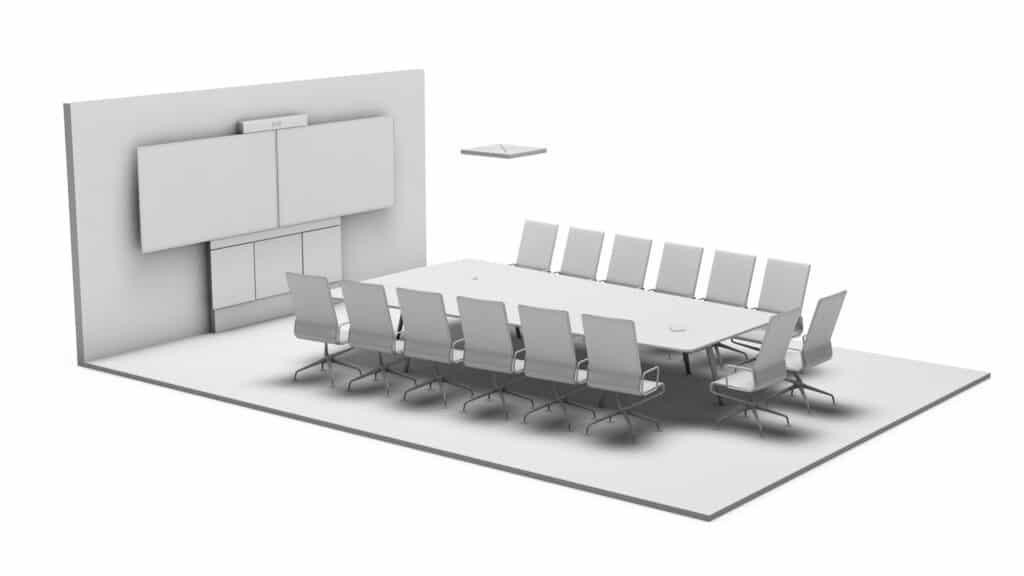 Rendering Konferenzraum Komfort mit Medientechnik (2 Displays, Kamera und Mediensteuerung) und Medienmöbeln (Deckenmikrofon, Beleuchtung Konferenztisch und Stühle)