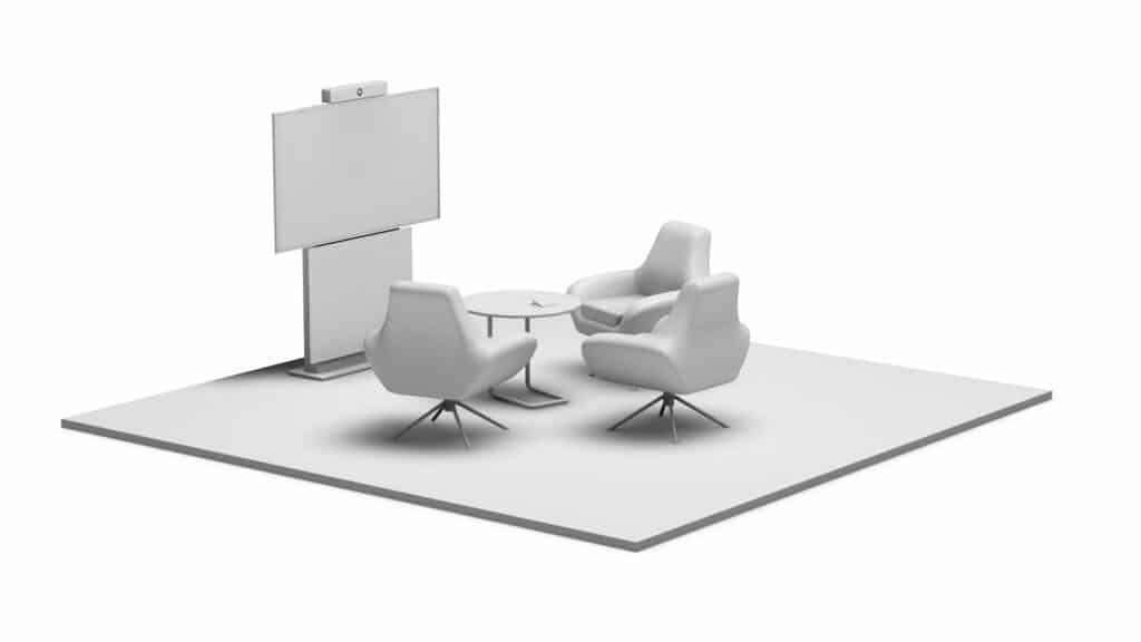 Rendering Huddle Lounge, d.h. ein kleiner Besprechungsraum. Ausgestattet mit Medientechnik wie z.B. Kamera und Display sowie Medienmöbel wie z.B. Displaystele, Tisch und Loungestühlen