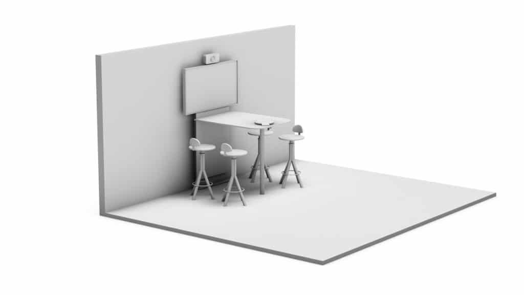 Rendering eines Meeting Points, d.h. kleine Besprechungsecke mit Medientechnik wie z.B. einem Display, Kamera und Mediensteuerung sowie Medienmöbeln d.h. Tisch, Displaystele und Stuhlhocker