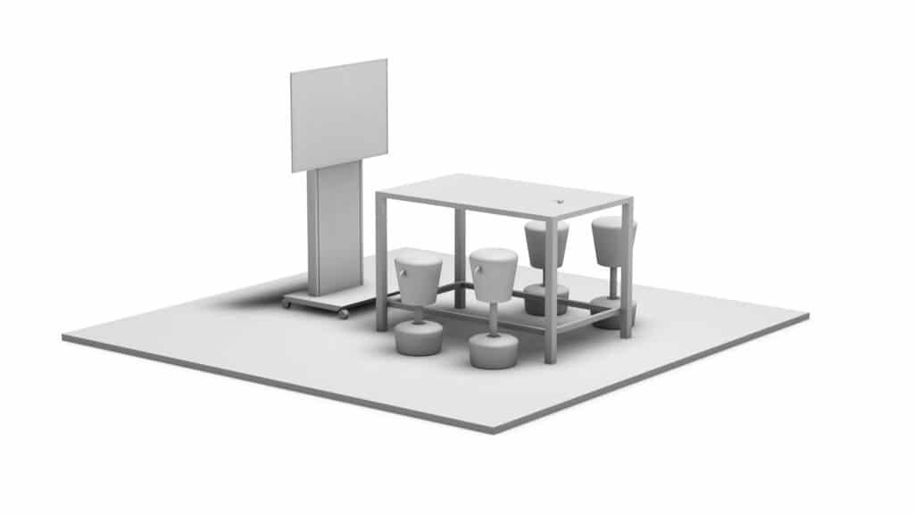 Rendering eines Meeting Points FELX mit Medientechnik wie z.B. Display und Medienmöbeln wie z.B. einer Displaystele, Tisch und Stuhlhockern. Besonders geeignet für spontane Meetings.
