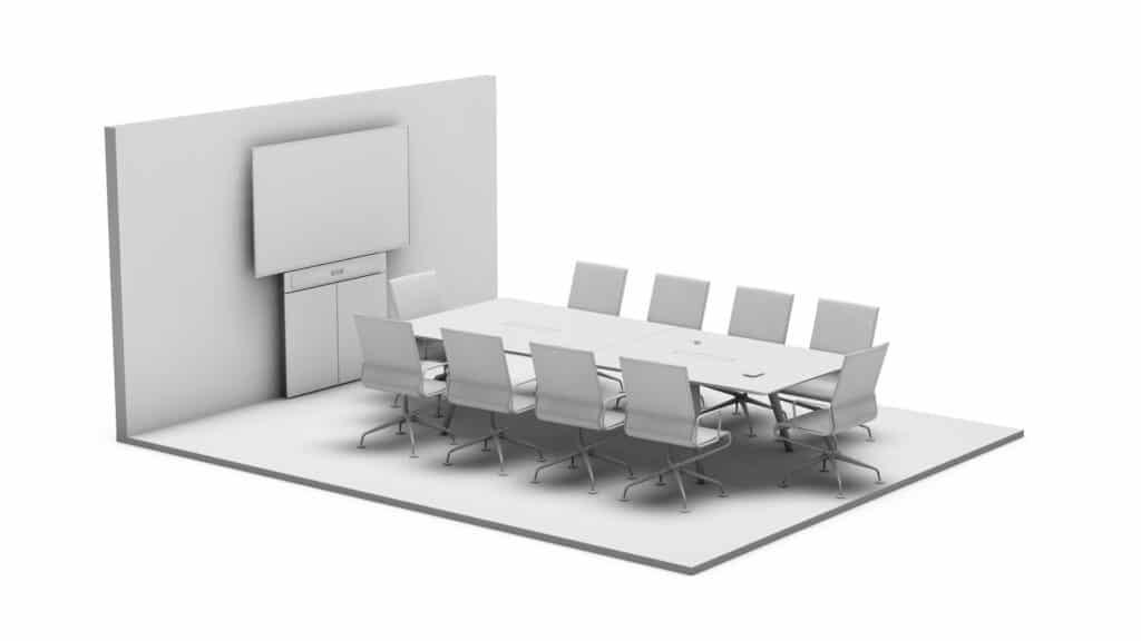 Rendering eines Meetings Rooms mit Medientechnik wie z.B. Display und Medienmöbeln wie z.B. einer Displaystele