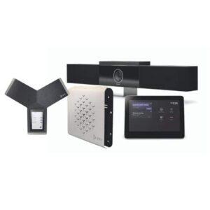 Für kleine bis mittelgroße Konferenzräume geeignet, die POLY G-40-T Videokonferenzlösung für Microsoft Teams) mit TC8 Touch-Control zur zentralen Steuerung), Studio USB und Trio C60 (eigenständiges Konferenztelefon)
