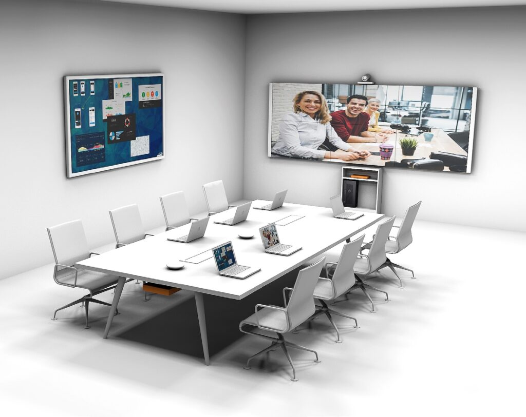 Medientechnik, Mediensteuerung, Displays, Kamera, Whiteboard, Mikrofone etc., für den perfekte Konferenzraum