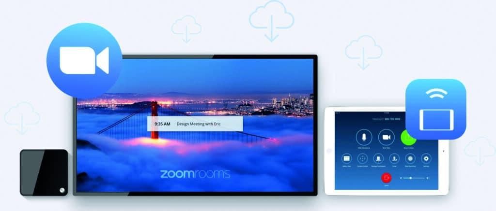 Zoom Videokonferenz-Lösung und Zoom Rooms; passende Medientechnik as a Service bei conference-tv