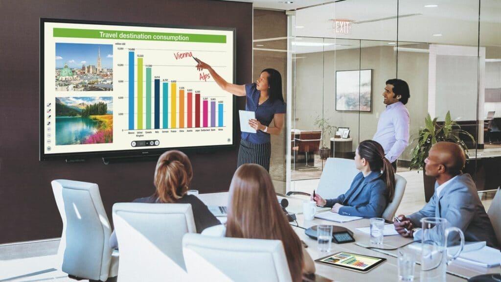 Videokonferenz mit Medientechnik (z.B. Mediensteuerung, interaktivem Whiteboard und Tischmikrofon) und Medienmöbeln. Im Meeting wird gerade mit dem interaktivem Whiteboard gearbeitettzt.