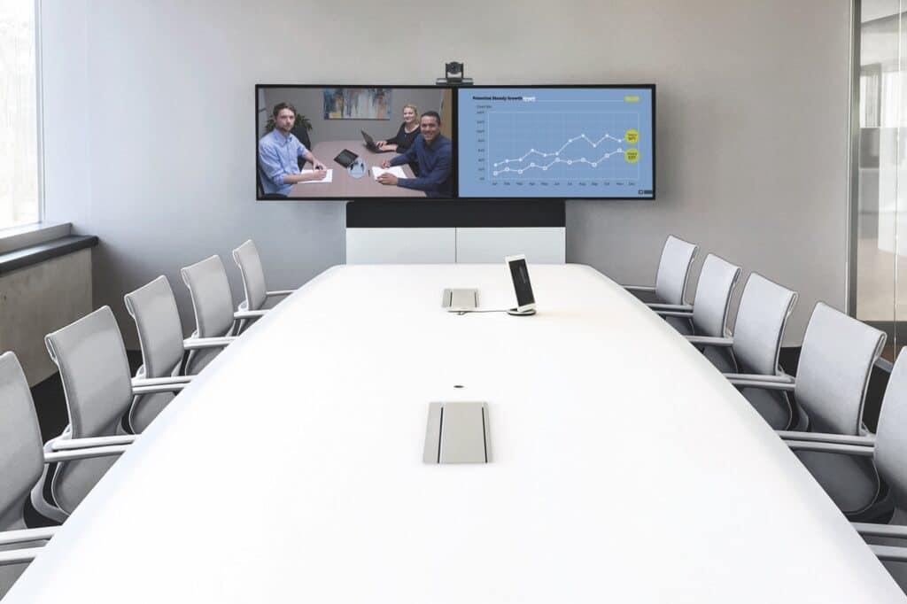 Meeting Room Premium mit Videokonferenz Software und Videokonferenzsystem (zwei Displays, Touch-Controller und Kamera) sowie Medienmöbeln as a Service