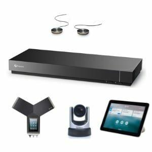 Professionelle Videokonferenzen mit dem Poly Videokonferenzsystem (poly G7500, Trio C60, mic Expansion Kit und Eagle Eye IV USB) für große Konferenzräume