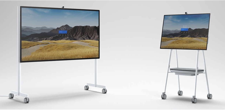 Microsoft Surface Hub 2S mit 55 und 85 Zoll sowie passenden Geräteständern, Kameras, Pen und Fernfeldmikrofonen